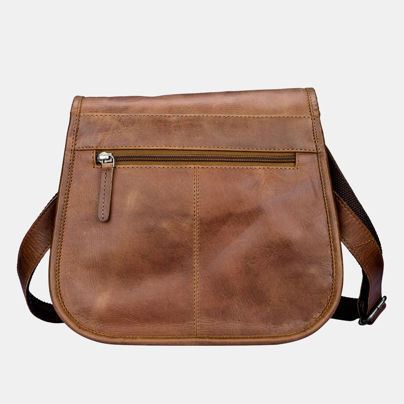 Women Vinatge Leather Crossbody Bag Brown | Finelaer
