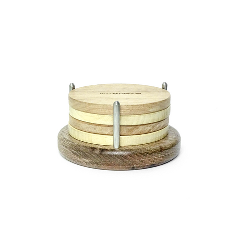 Signature Round Coasters Set with Holder