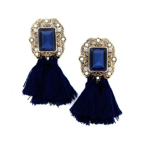 Vintage Glamour Tassel Earring In Navy Blue