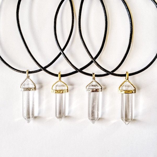 Clear Quartz Crystal PU Leather Necklace