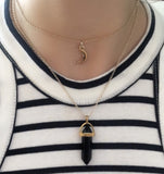 Crescent Moon Onxy Quartz Crystal Necklace