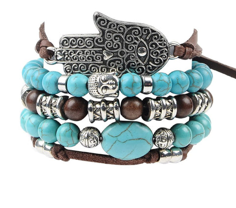 Hamsa Palm Leather Bracelets