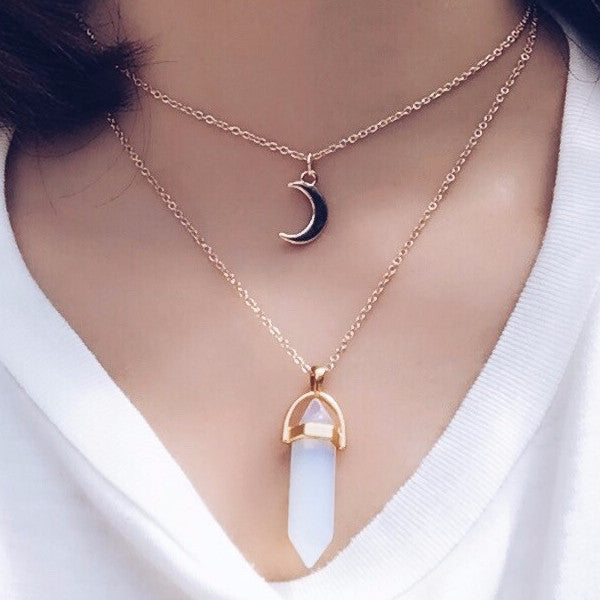 Crescent Moon Opal Quartz Crystal Necklace