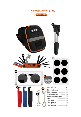 Bicycle Repair Set Bike Outdoor Seat Saddle Bag 16 in 1 Multi Function Tool Kit Tire Lever Patch Kit