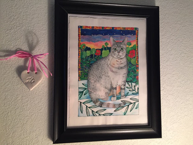 Framed custom cat portrait of Sylvia