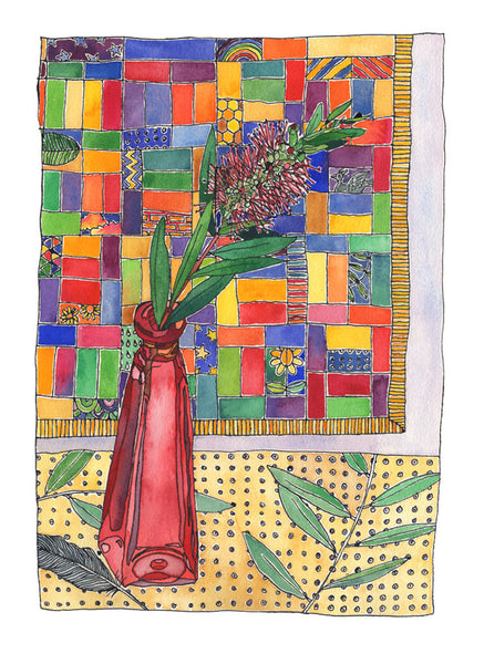Bottle with bottlebrush - one of a kind watercolour