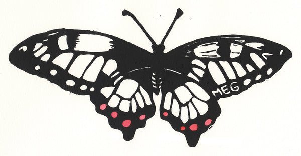 19-100 Delicate (butterfly lino print)