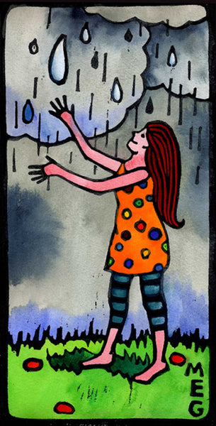 Girl Welcoming Rain - limited edition hand coloured lino print
