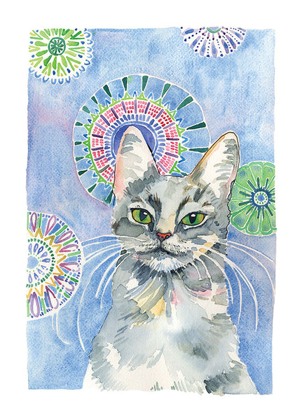 38 - Turkish Angora cat - one of a kind watercolour