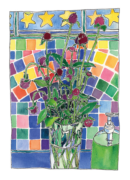 Posy in Tiled Bathroom - one of a kind watercolour