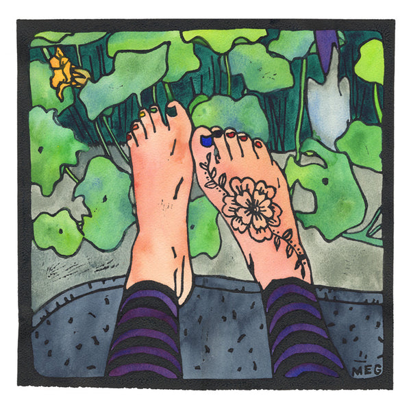 Spring Feet - limited edition handcoloured lino print