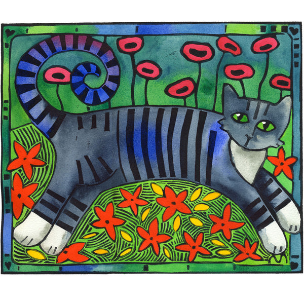 Striped Cat of Stripey Joy - limited edition handcoloured lino print