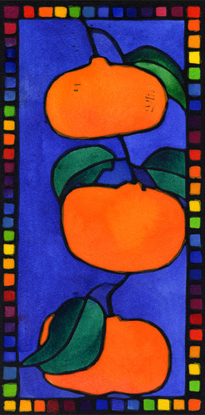 Three Mandarins - hand coloured lino print