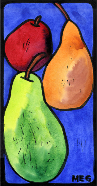 Three Pears - limited edition lino print