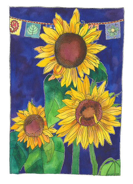 Three Sunflowers - one of a kind watercolour - framed