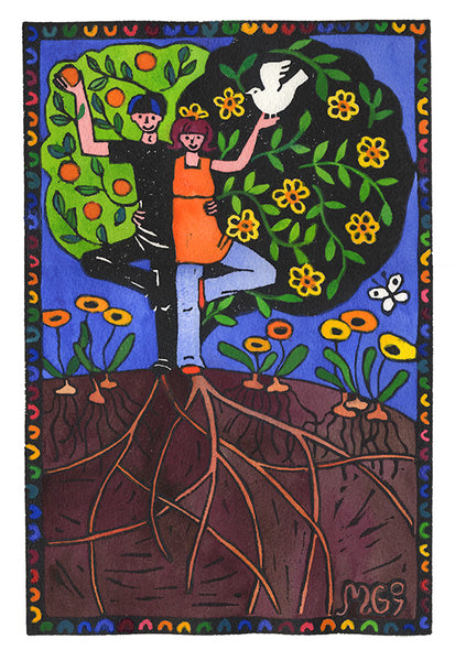 Tree People - hand coloured, limited edition lino print