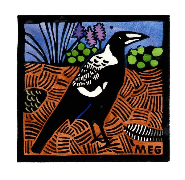14-100 Young Magpie lino print