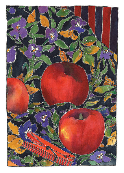 Apples and Red Peg - one of a kind watercolour