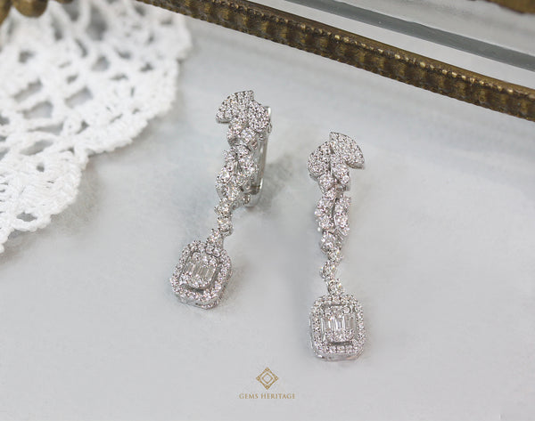 Leaf Earrings with emerald cut illusion setting