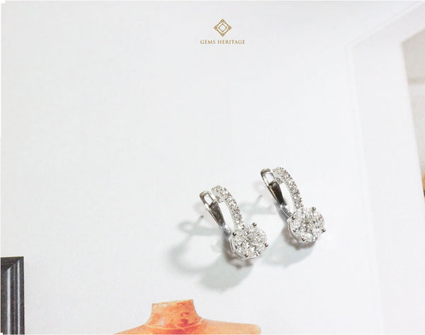 Illusion setting Diamond earrings with small hoops