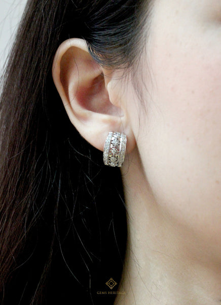 Lace Diamond hoop earrings