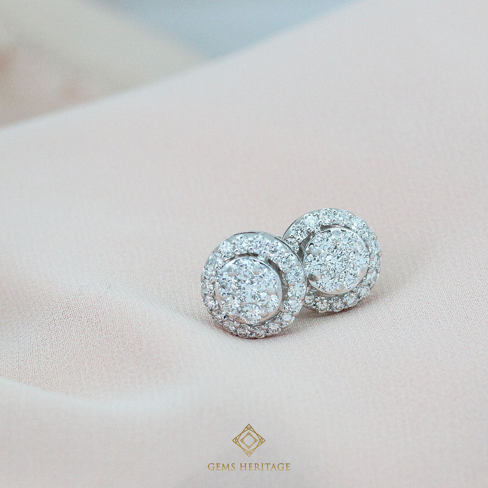 Illusion diamond earrings with halo(L)