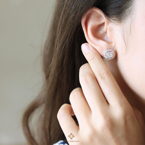 Illusion diamond earrings with halo(M)