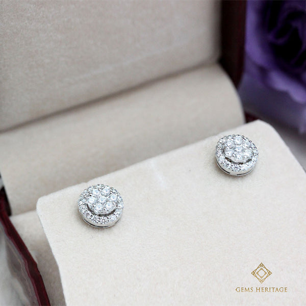 Illusion diamond earrings with halo(S)