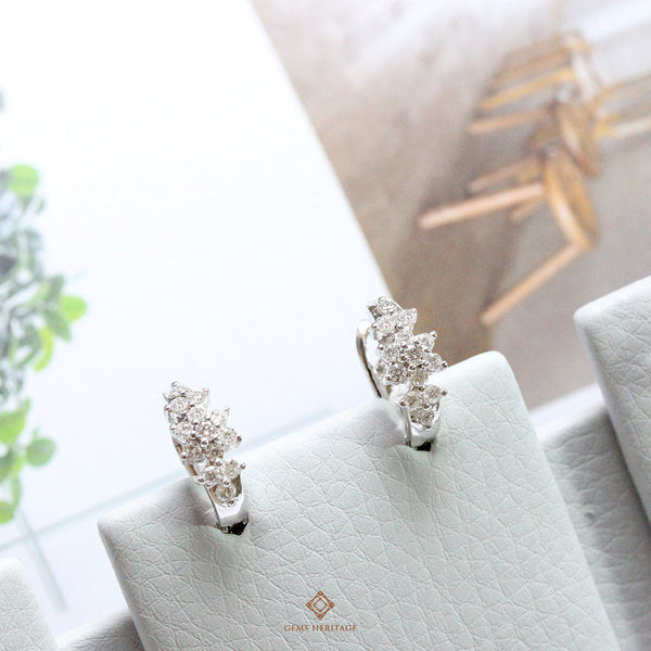Flower Diamond hoop earrings
