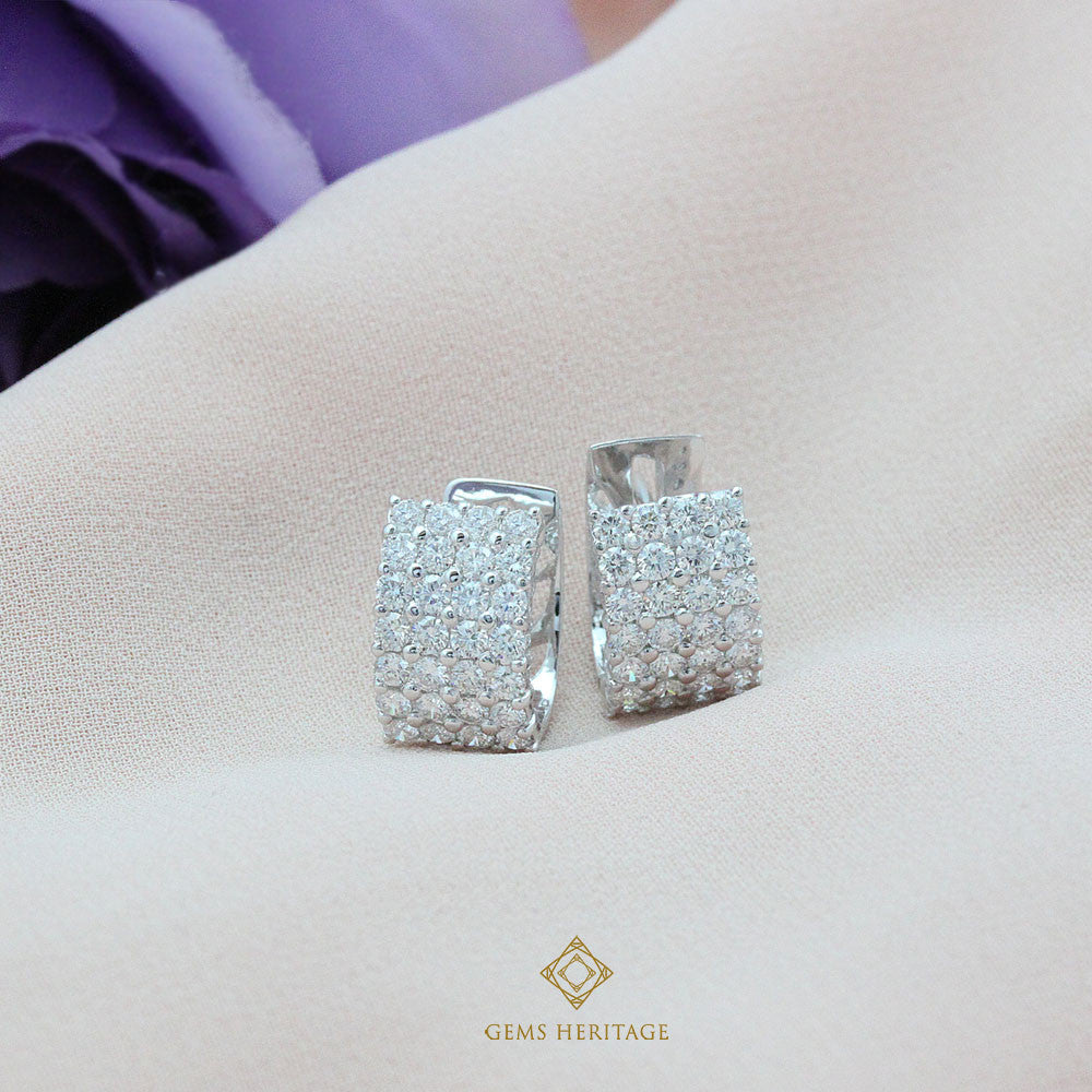 Diamond line hoop earrings