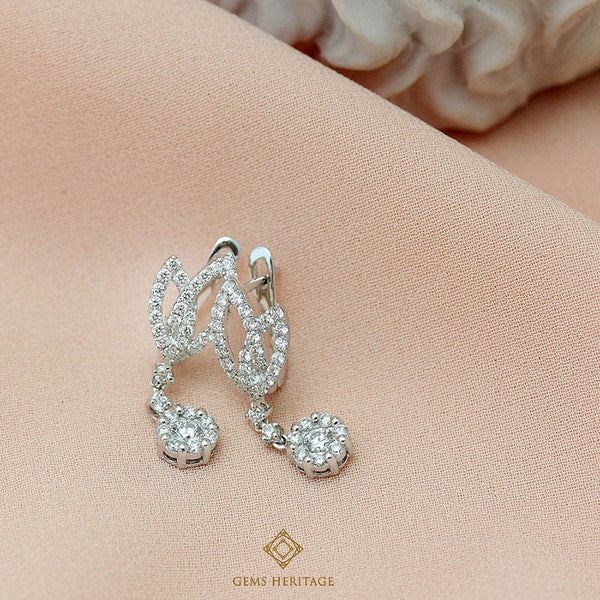 leaves and drop diamond earrings