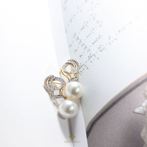 Diamond Petals and south sea pearl earrings