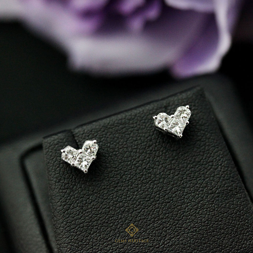 Heart illusion diamond stud earring