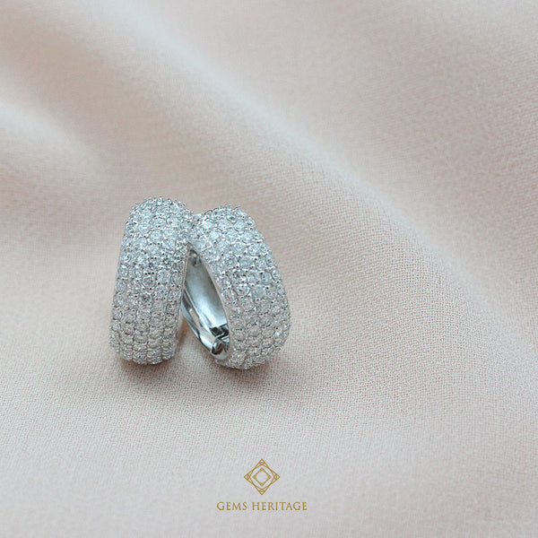 Smooth hoop diamond earrings