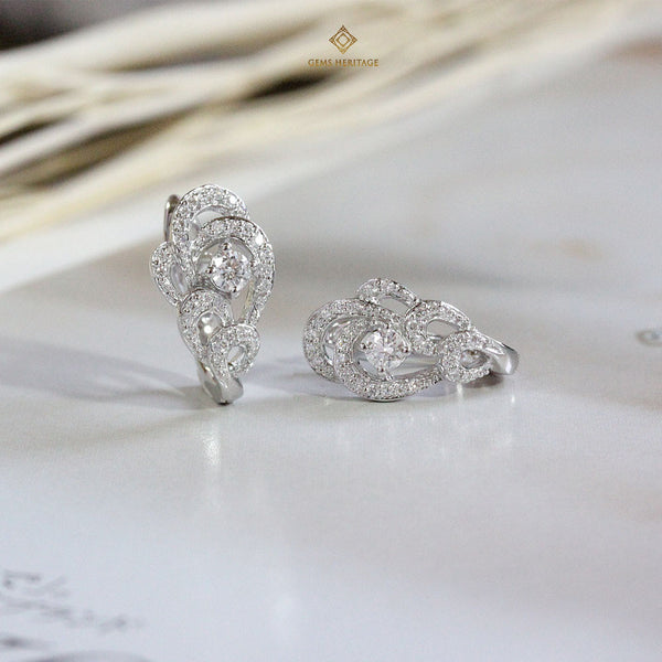 Ocean wave diamond earring