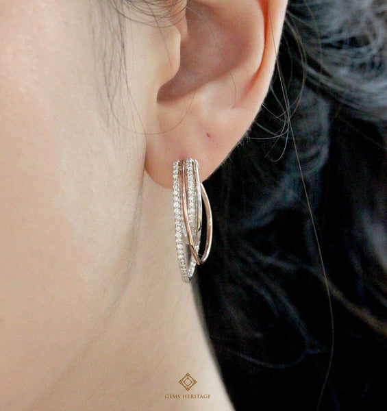 Intricate diamond Hoop Earrings