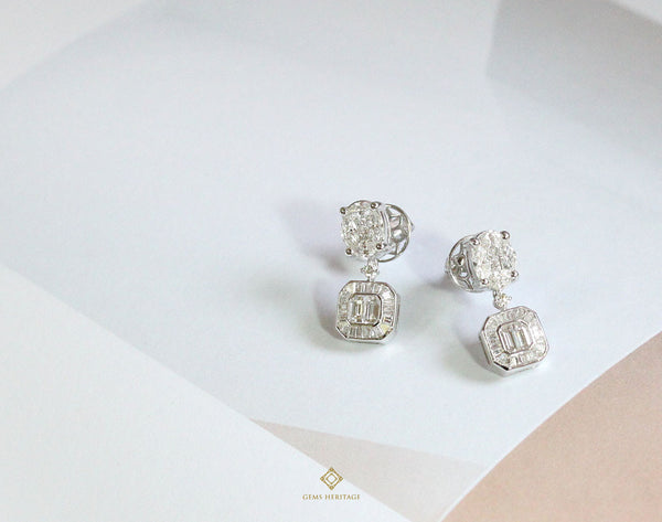Oval and Asscher cut illusion diamond earrings