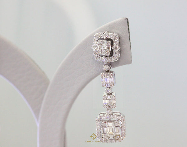 Emerald cut illusion long earrings with detachable diamond jacket