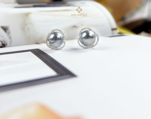 Metallic Silver South Sea Pearl Earrings