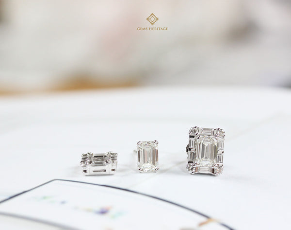 Emerald cut with baguette halo diamond earrings