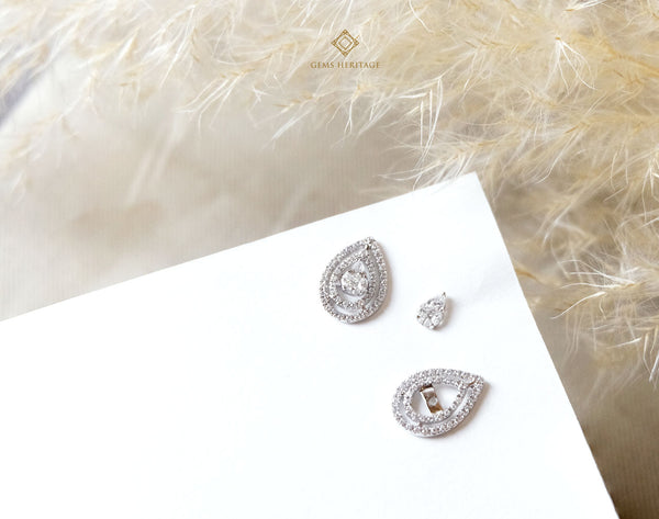Pear Diamond Earring with halo(Detachable)