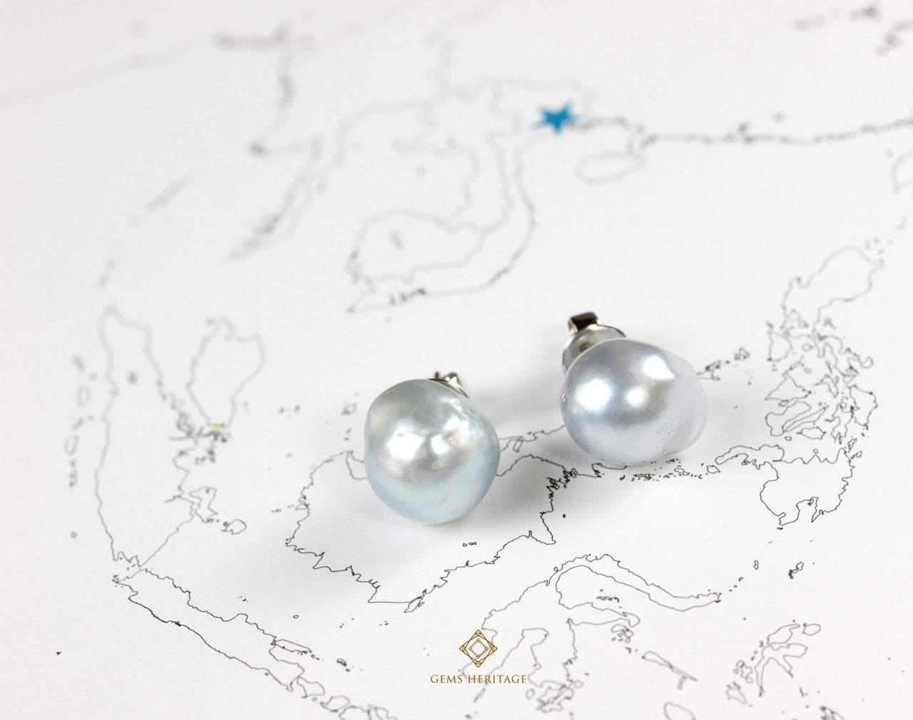 South Sea boroque silver pearl stud earrings