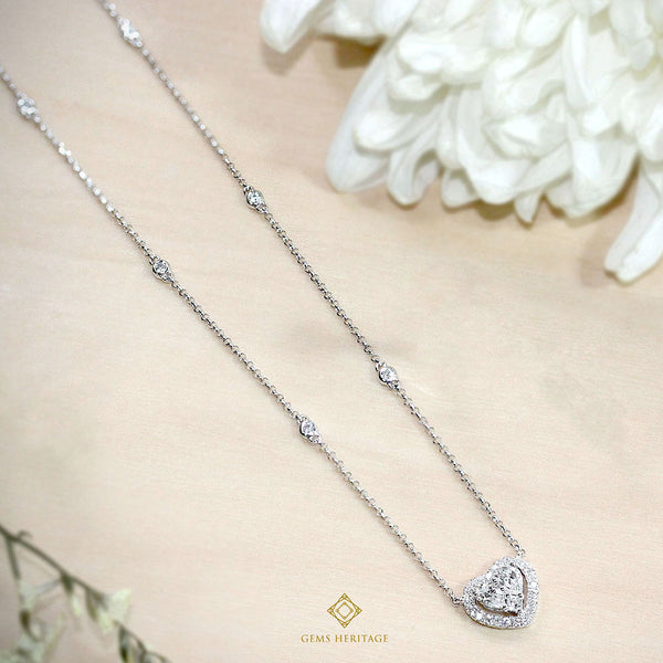 Illusion heart shaped diamond necklace