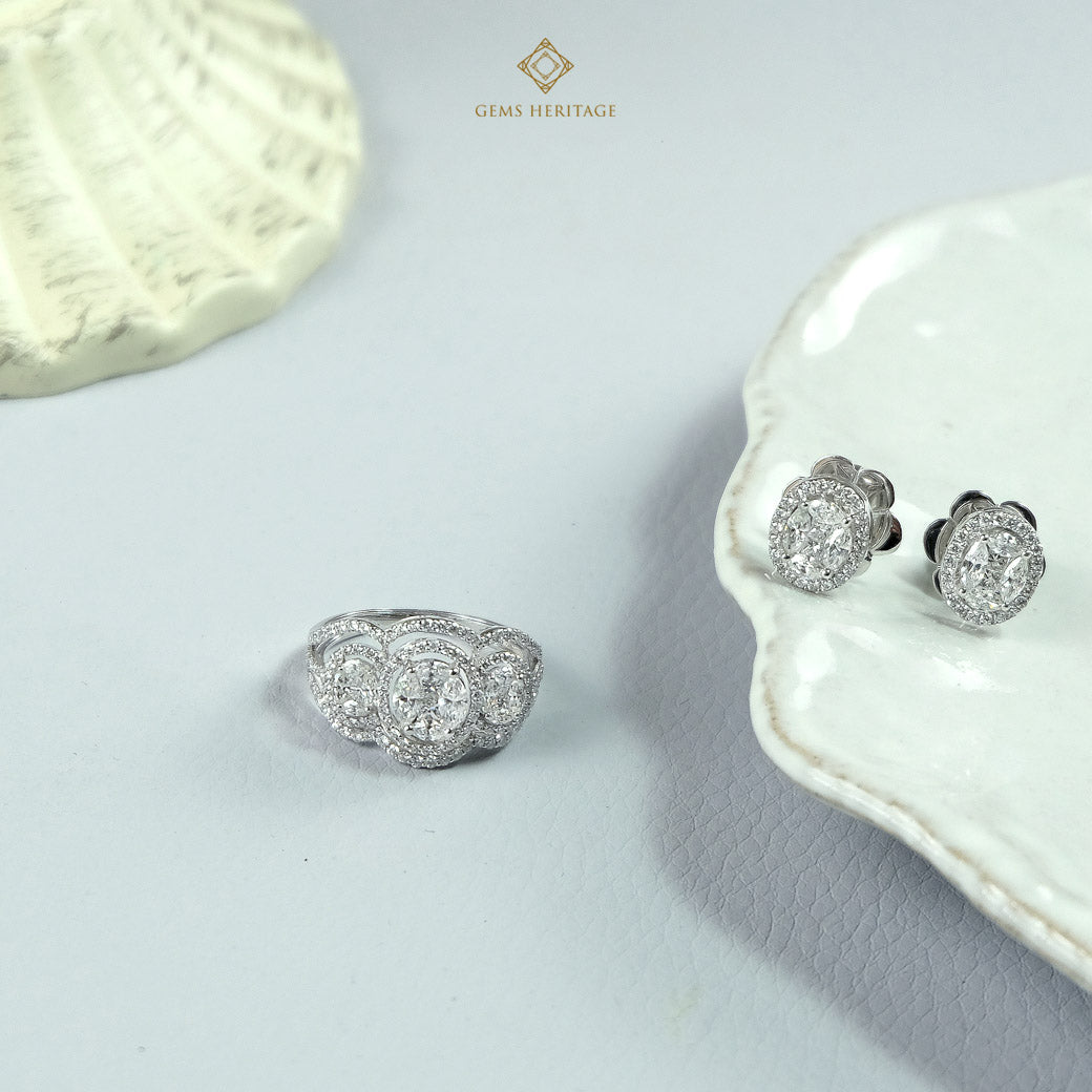 Three oval illusion diamond ring