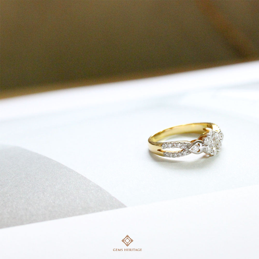 Diamond Illusion with two hearts on the side ring