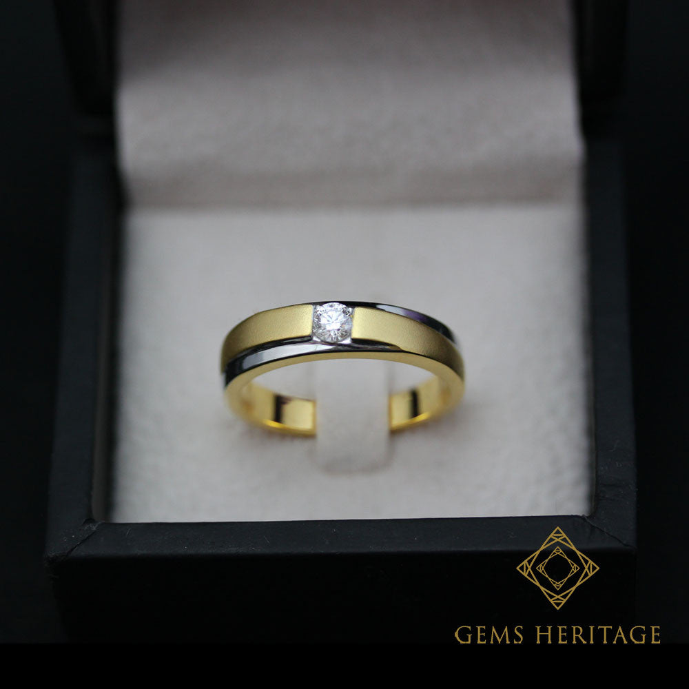 Two tone men's diamond ring