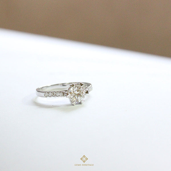 Diamond ring heart prongs