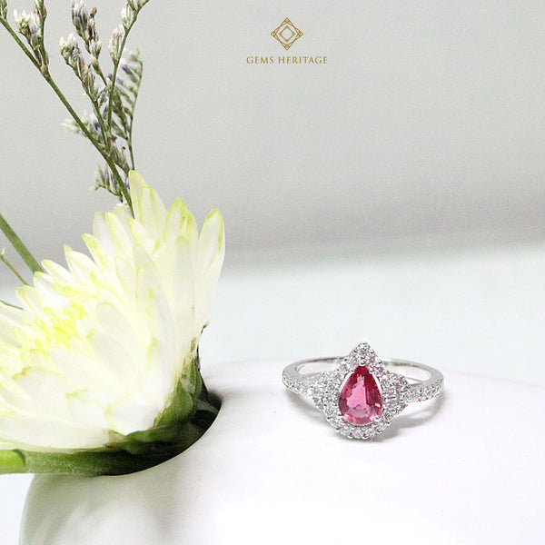 Pear shaped Ruby halo ring