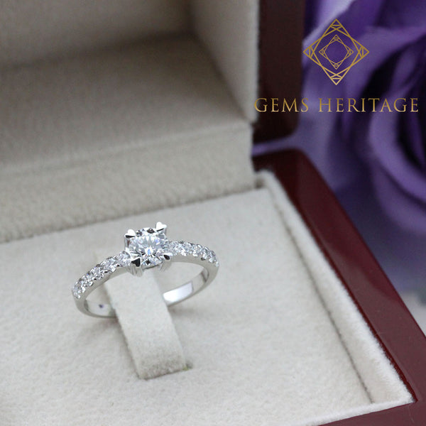 Heart prongs half carat diamond ring
