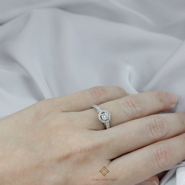 0.31 cts center stone halo diamond ring